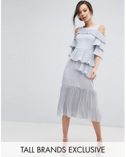 Cold Shoulder Midi Dress With Pleated Layer Detail