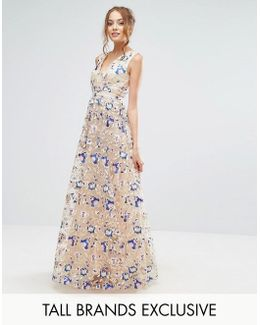 Premium Floral Embroidered Maxi Dress