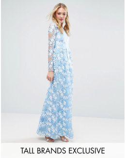 Premium 3d Lace Applique Maxi Dress