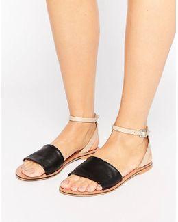 Fudge Leather Flat Sandals