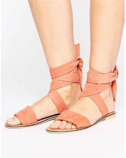 Famous Suede Tie Leg Sandals