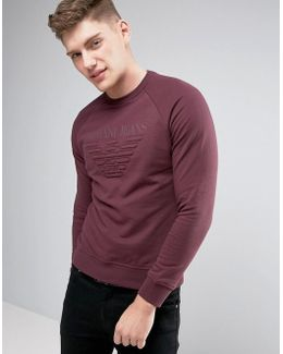 Emboss Logo Sweat Crewneck Regular Fit In Bordeaux