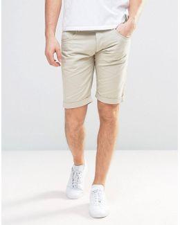 5 Pocket Slim Fit Shorts In Beige