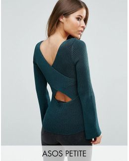 Sweater With Extreme Cross Back In Rib