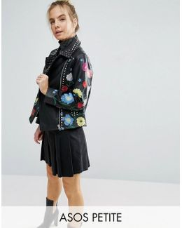Floral Embroidered Leather Biker Jacket