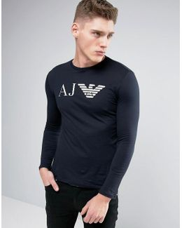 Long Sleeve Top Slim Fit Eagle Logo In Navy