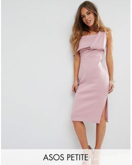 One Shoulder Fold Scuba Pencil Dress