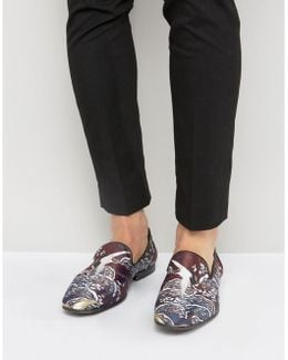 Loafers With All Over Burgundy Bird Print