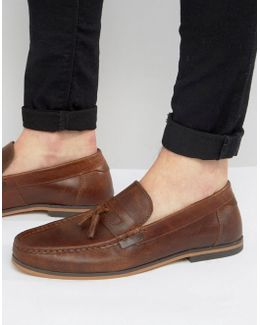 Loafers In Brown Leather With Tassel