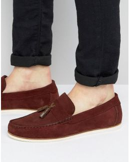 Loafers In Burgundy Suede With Tassel Detail