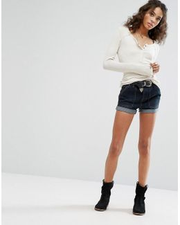 High Rise Slim Denim Shorts