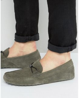 Loafers In Gray Suede With Metal Woven Detail