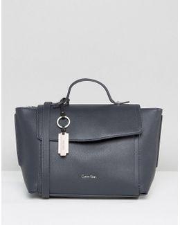 Foldover Tote Bag In Deep Blue