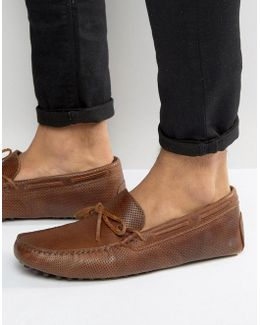 Loafers In Tan Leather With Perforated Detail