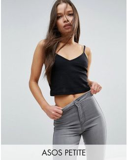 Strappy Crop Cami In Textured Rib