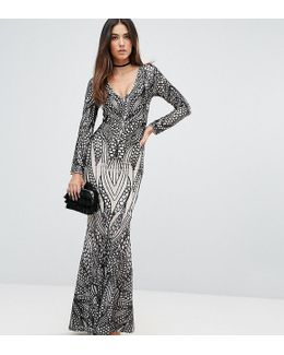 Placement Sequin Maxi Dress