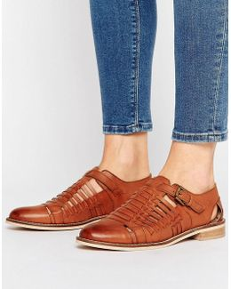 Monument Leather Woven Flat Shoes