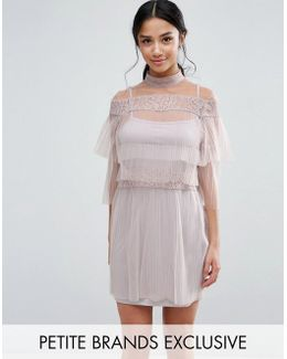 All Over Lace And Ruffle Pleated Mini Dress