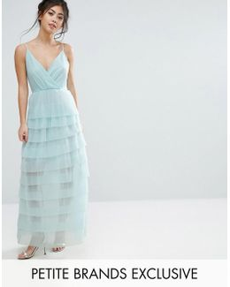 Cami Maxi Dress With Ruffle Pleated Skirt