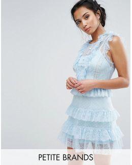 Floral And Dotty Mesh Ruffle Hem Dress