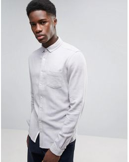 Regular Fit Textured Linen Shirt In Gray