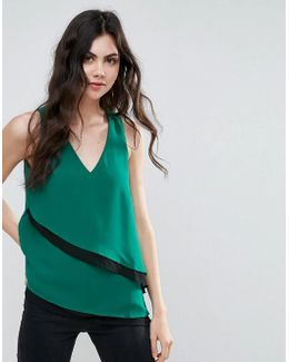 V Neck Top With Asymmetric Hem