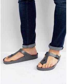 Gizeh Eva Metallic Sandals In Anthracite
