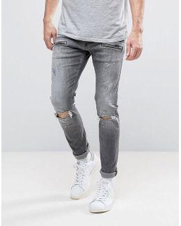 Jondrill Skinny Fit Jeans Gray Ripped Knee Paint Splat