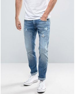 Anbass Slim Fit Jeans Ripped Light Wash
