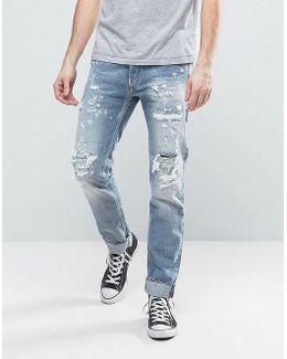 Ronas Slim Fit Jeans Rip And Repair Light Wash