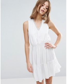 Skater Dress With Elasticated Waist And Lace Detail
