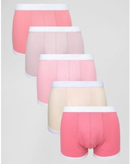Hipsters With Bound Leg In Pink 5 Pack Save