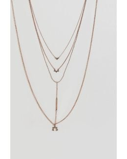 Multirow Bar & Charm Necklace