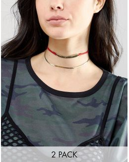 Pack Of 2 Bar & Chain Choker Necklaces