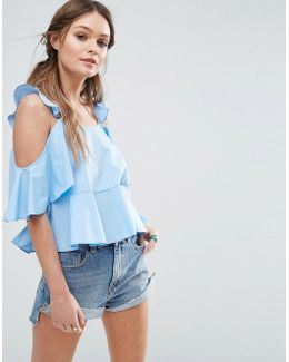 Cotton Sun Top With Ruffle Cold Shoulder