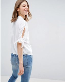 Boxy Casual Shirt With Tie Sleeve