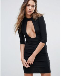 Plunge Front Dress With Choker Neck