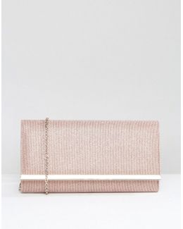 Dylan Rectangle Envelope Clutch With Metal Bar In Pale Pink
