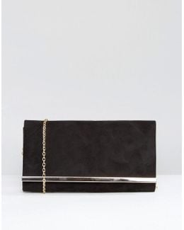 Dylan Rectangle Envelope Clutch With Metal Bar In Black