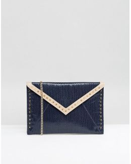 Studded Color Block Envelope Clutch