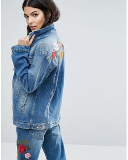 Embroidered Boyfriend Denim Jacket