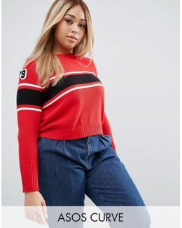 Sweater With Stripes And Badges