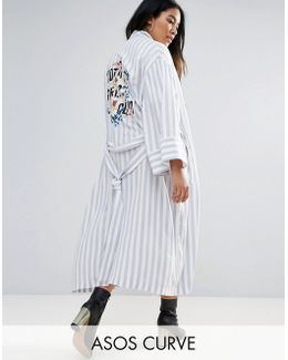 Kimono In Stripe With Embroidered Back