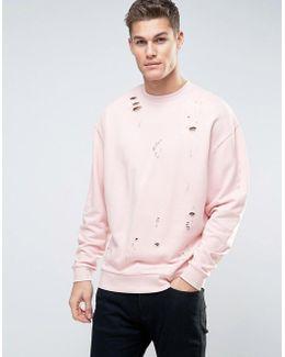 Oversized Distressed Sweatshirt In Pink
