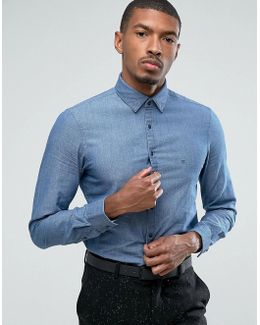 Skinny Smart Shirt In Woven Textured Denim