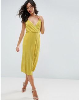 Cami Dress With Wrap Front In Plisse
