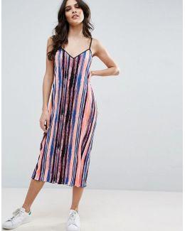 Plisse Midi Pencil Dress In Paint Splash Print