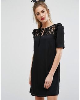 Short Sleeve Dress With Lace Panel And Tie Up Bow Neck