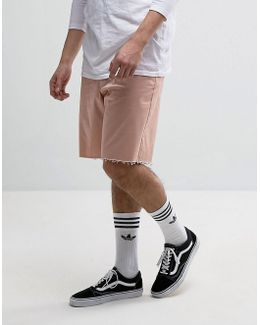 Skater Shorts With Raw Edge In Pink
