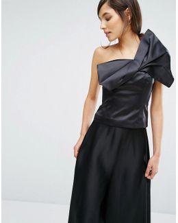 Satin Bow Detail Top - Black